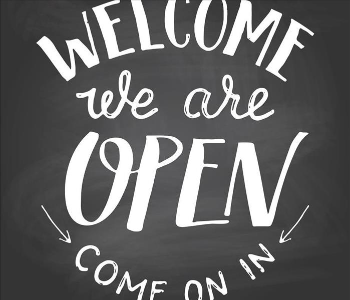 Black and White Come in We Are Open Sign