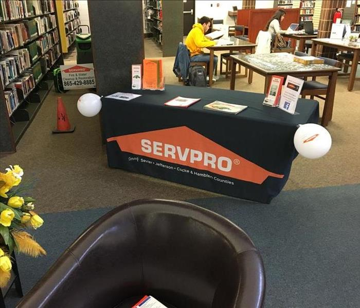 library interior with SERVPRO sign