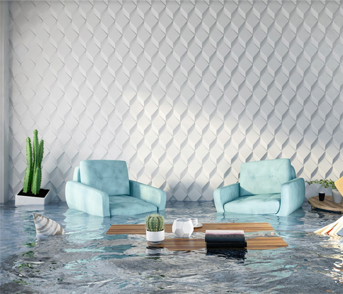 flooded living room with items floating at the surface